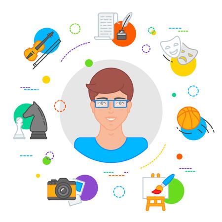 Hobbies choice illustration, education concept flat style Illustration