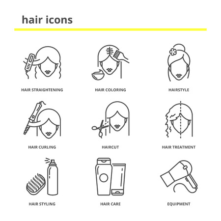 Hair vector icons set: straightening, coloring, hairstyle, curling, haircut, hair treatment, styling, care, equipment. Line style