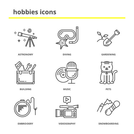 handicrafts: Hobbies icons set: astronomy, diving, gardening, building, music, pets, embroidery, videography, snowboarding. Line style, education concept