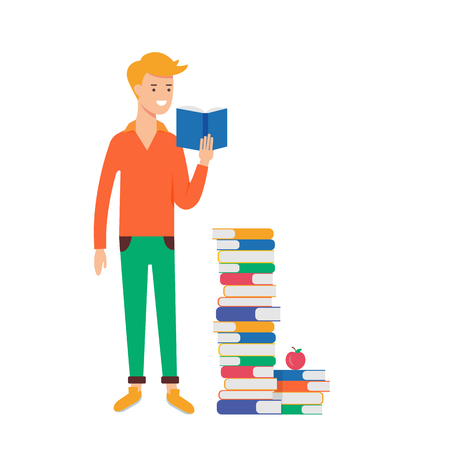 book concept: illustration of a man reading book, education concept