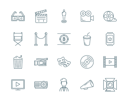 flick: Cinema vector icons set modern line style