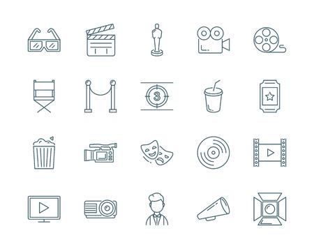 flick: Cinema vector icons set modern line style