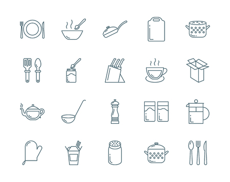 cutting board: Kitchenware and utensil vector icons set modern line style