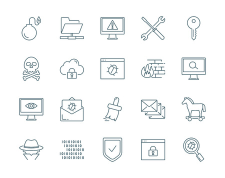 computer viruses: Computer viruses, cyber attack, hacking vector icons set Illustration