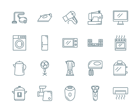 mincer: Household appliances vector icons set modern line style Illustration
