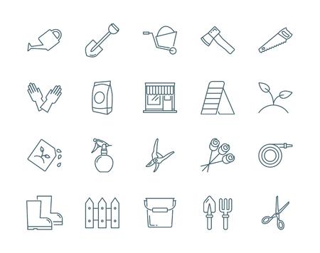 fertilizers: Gardening vector icons set modern line style Illustration