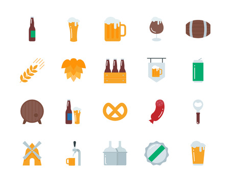 Beer colorful vector icons set flat style Illustration