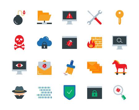 Los virus informáticos, ataques cibernéticos, piratería informática iconos de colores conjunto de vectores de estilo plano Ilustración de vector