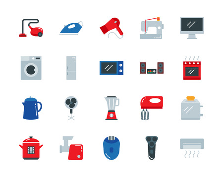 mincer: Household appliances colorful vector icons set flat style