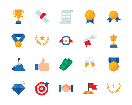 Winning awards colorful vector icons set flat style Stock Photo