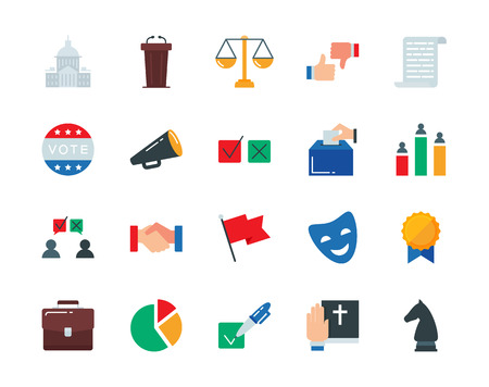 congresses: Politics colorful vector icons set flat style