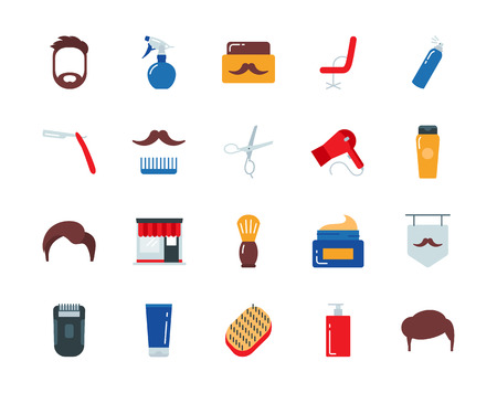 hair brush: Barber colorful vector icons set flat style