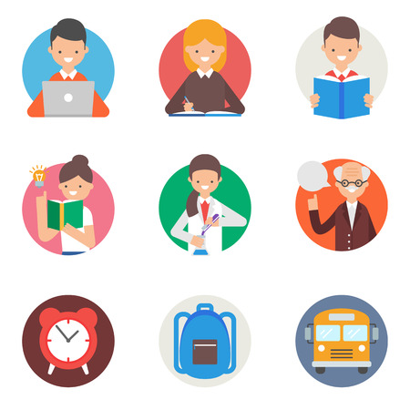 Education and learning vector icons set flat style