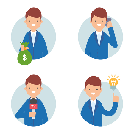 telephone interview: Businessman vector icons set flat style, business concept Illustration