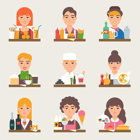 lunchroom: Food and drink vector set. Small business. Fast food