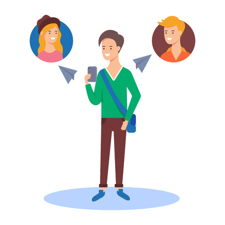 phone conversation: Vector illustration of a man sending messages to his friends using a messenger app Illustration