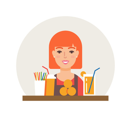 small business: Small business - fresh juices bar vector illustration flat style