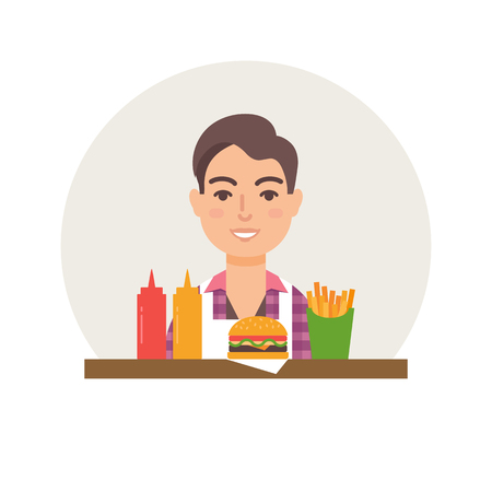 small business: Small business - burger restaurant vector illustration flat style