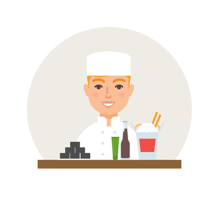 small business: Small business - sushi bar vector illustration flat style