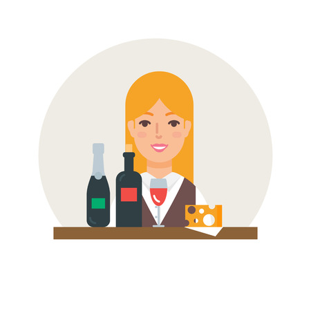sommelier: Small business - wine shop vector illustration flat style Illustration