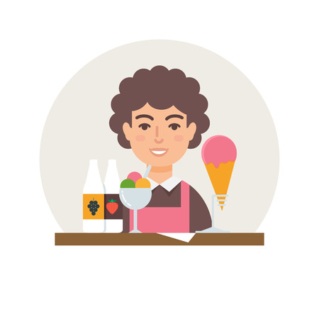 small business: Small business - ice cream shop vector illustration flat style Illustration