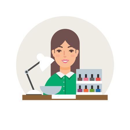 manicurist: Profession - manicurist vector illustration, beauty concept flat style