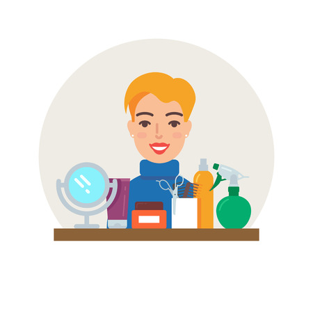 haircutter: Profession - hairdresser vector illustration, beauty concept flat style