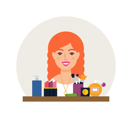 visagiste: Profession - make-up artist, cosmetologist vector illustration flat style Illustration