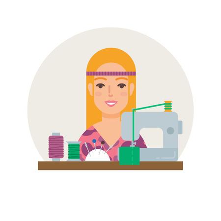seamstress: Hobby - sewing. Seamstress vector illustration flat style Illustration