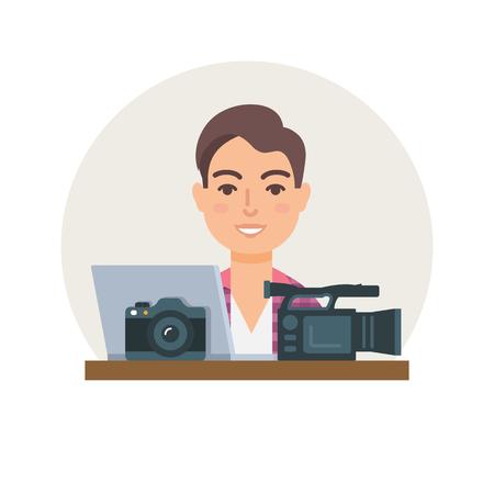 videographer: Videographer, photographer, clipmaker vector illustration flat style Illustration