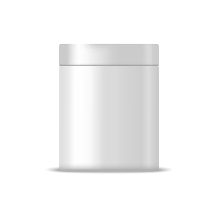 can: Metallic blank box illustration. Mock up, cosmetic package