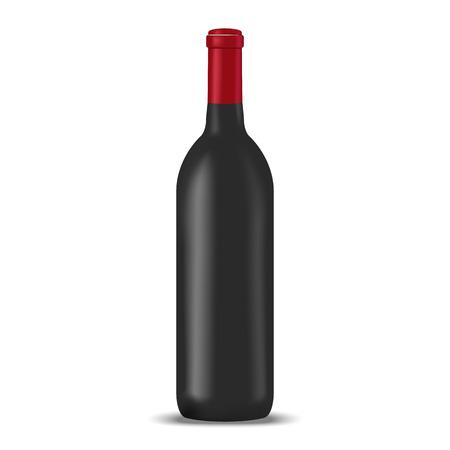 food package: Wine blank bottle illustration. Mock up, food package