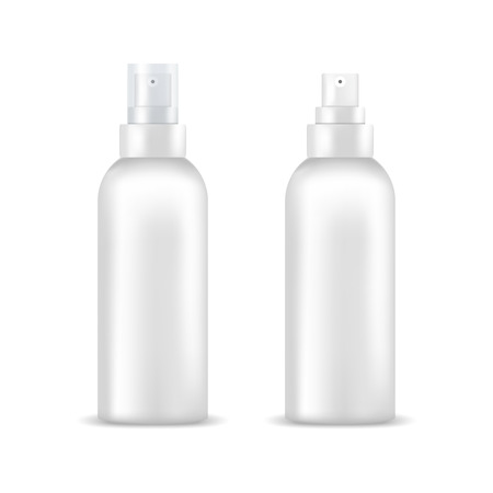 perfume atomizer: Set of white blank spray bottles. Mock up, cosmetic package