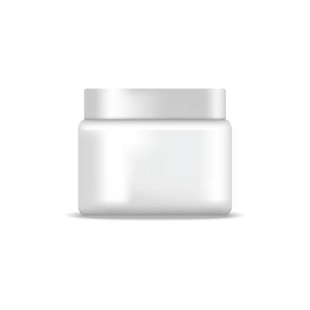 white blank: White blank jar of cream. Mock up, cosmetic package