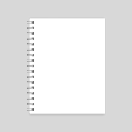 White blank realistic spiral notebook mockup isolated