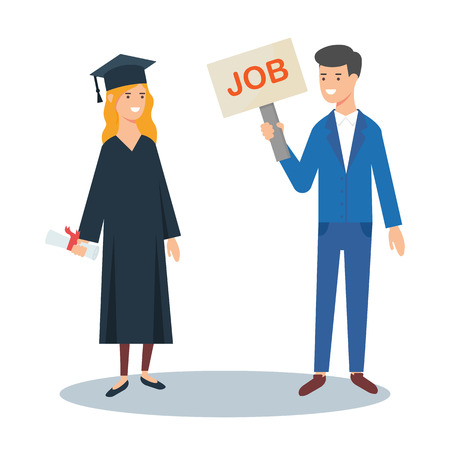 Vector illustration of a graduate and employer. Job vacancy