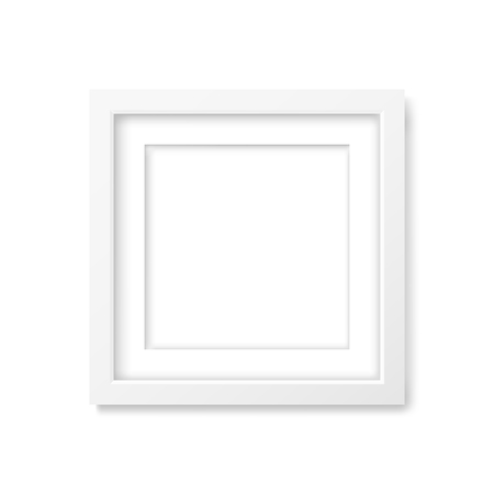 squares background: Square realistic white frame with passe-partout mockup