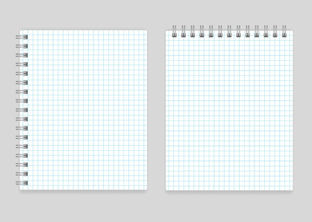 spiral notebook: Blank realistic spiral squared notebook mockup isolated Illustration