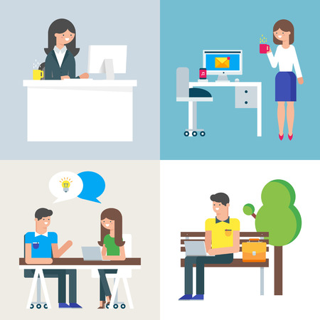 Set of business people at work. Vector illustration
