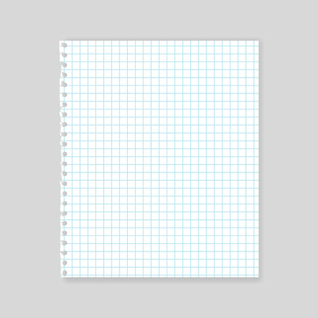 note book: Blank realistic squared sheet of paper vector mockup