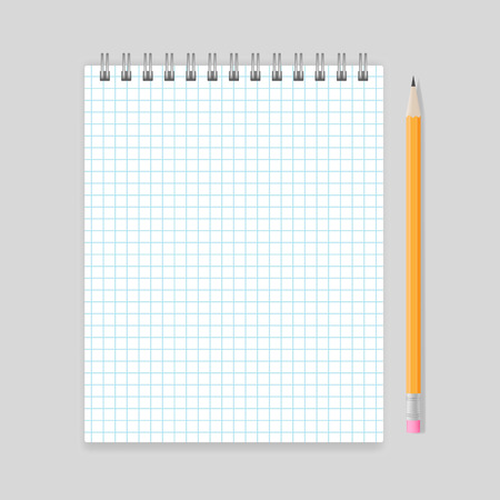 spiral notebook: Blank realistic spiral squared notebook mockup with pencil