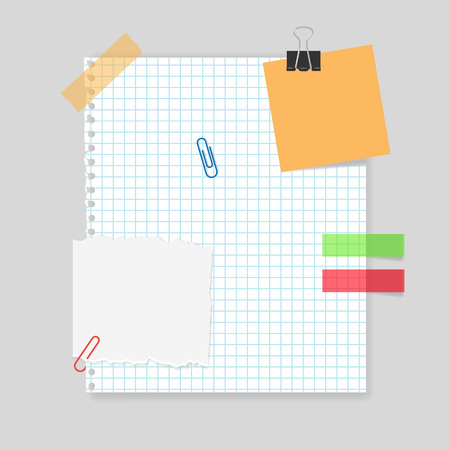 memo pad: Blank realistic squared sheet of paper with tape, paper clips, memo stickers Illustration