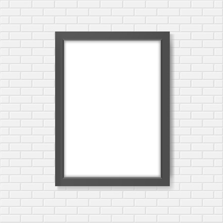 wall: Black blank realistic frame on the white brick wall mockup