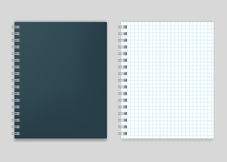 spiral notebook: Blank realistic spiral squared notebook vector mockup