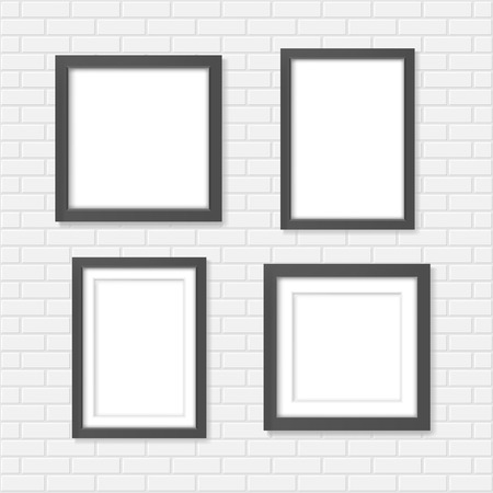 frame wall: Set of black blank realistic frames on the white brick wall mockup Illustration