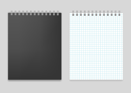 note book: Blank realistic top spiral squared notebook vector mockup