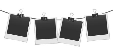 Lege realistische fotolijsten op de touwmockup