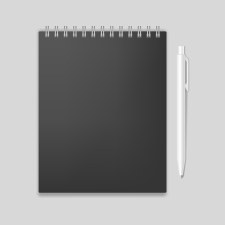 spiral notebook: Blank realistic spiral notebook mockup with pen