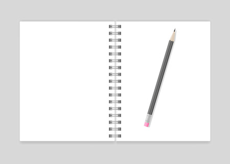 spiral notebook: Opened blank realistic spiral notebook mockup with pencil