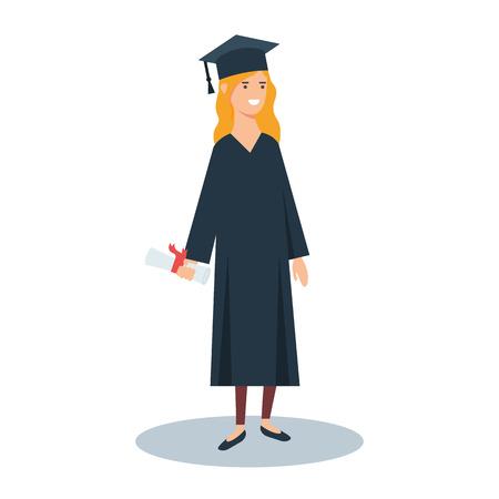 Vector illustration d'un diplômé avec diplôme dans la main, le concept de l'éducation Vecteurs
